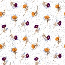 Полевые цветы на белом фоне с горошками